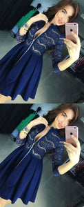 3/4 Sleeve Navy Blue Lace Mini Prom Dress, Short Prom Dress, Sexy Party Dress,B0782