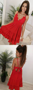 Princess Cute Mini Red Prom Dress, Sexy Red Cocktail Dress with Straps,B0783