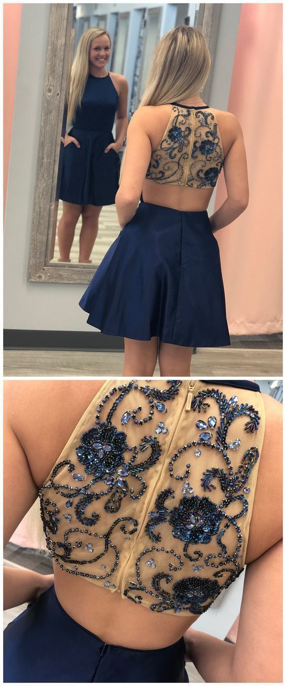 Navy Blue Beaded Short Prom Dress, Girl Prom Gowns, Evening Party Dress,B0787