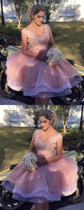 Elegant Pink Tulle Homecoming Dress, Appliques Prom Dresses, Short Party Dress,B0790