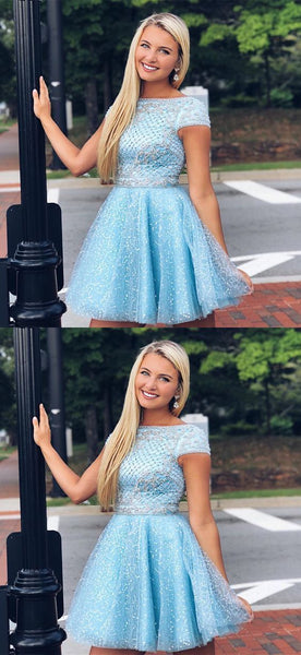Cap Sleeve Tulle Short Prom Dresses, Beaded Blue Homecoming Dresses,B0795