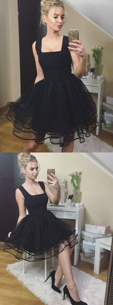 Black Short Prom Dress, Tulle Homecoming Dress, Sexy Prom Gown,B0796
