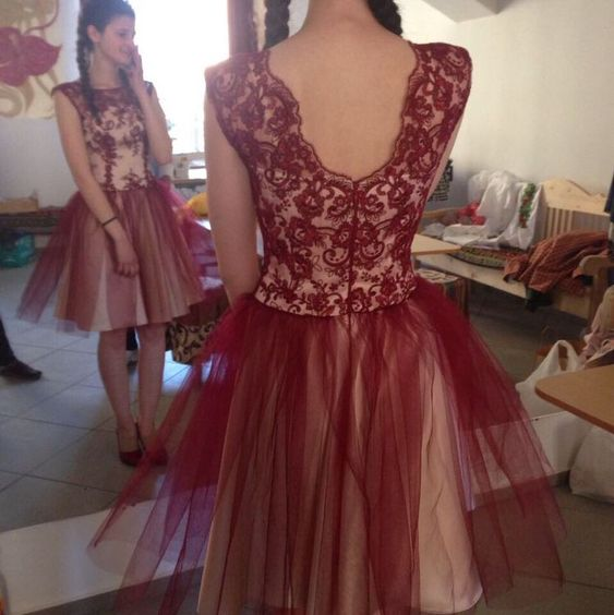Tulle Burgundy Homecoming Dress, Elegant Short Homecoming Dresses, Appliques Prom Gowns,B0797