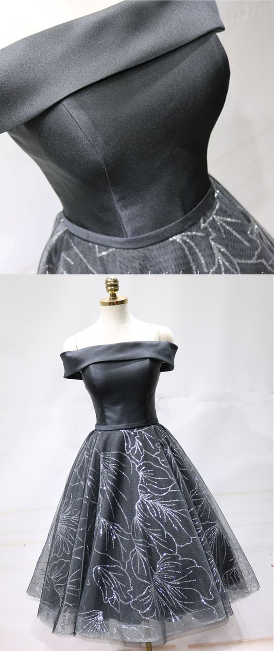 Black Satin Short Tulle Off Shoulder Prom Dress, Homecoming Dress ,B0801