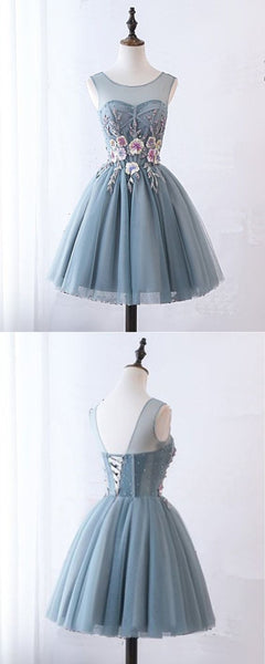 Blue Gray Tulle Short Halter Prom Dress, Homecoming Dress With Lace Applique,B0802