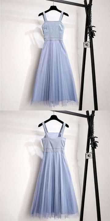 Blue cute tulle summer dress, women fashion homecoming dress,B0803