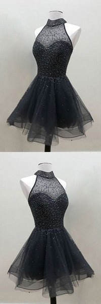 Fashion A-Line Halter Black Tulle Short Homecoming Dress With beading,B0808