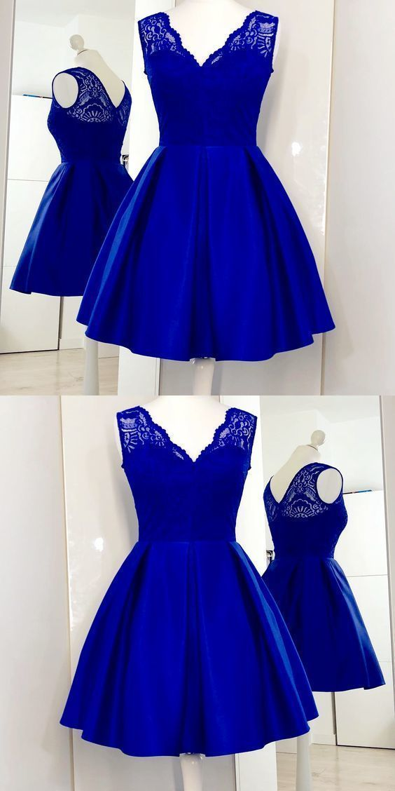 Charming Royal Blue Cute homecoming Dress, Lace Satin Short Homecoming Dress ,B0816