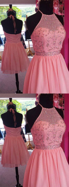 Pink Halter Top Beading Open Back A-Lin Short Chiffon Homecoming Dresses, Cheap Homecoming Dresses,B0817