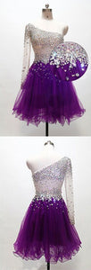 Grape Homecoming Dress,One Shoulder Homecoming Dresses,Tulle Homecoming Gowns,Short Prom Gown ,B0823