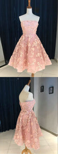 A-line strapless pink homecoming dress short with lace short prom dress,B0824