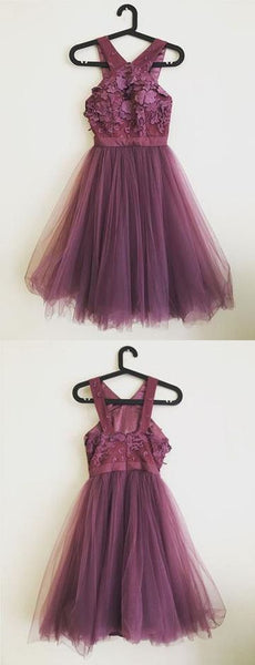 Cocktail Party Homecoming Dress Grape Lace Cheap Homecoming Dress,B0825