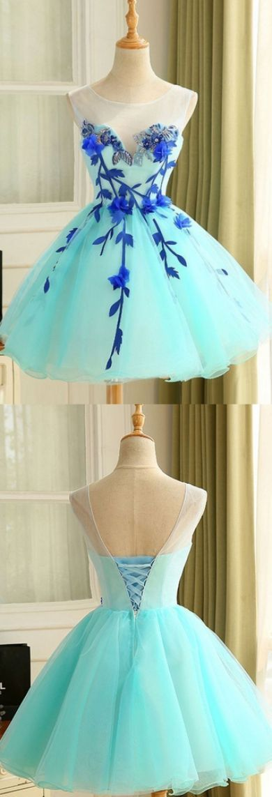 Round Homecoming Dresses, Light Blue Short HomeHomecoming Dresses, 2019 Ball Gown Tulle Homecoming Dress Beautiful A Line Flower Short Prom Dress Party Dress ,B0833