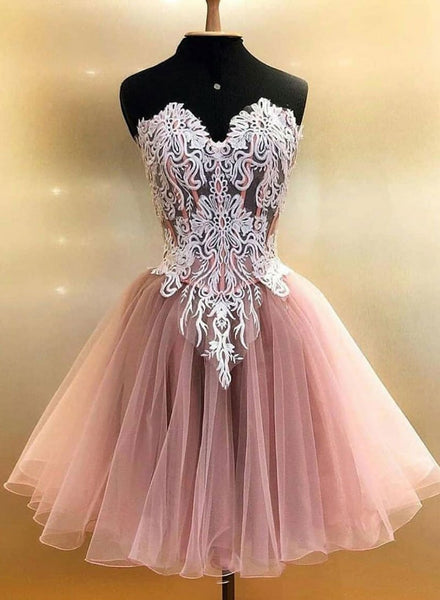 Pink tulle lace short prom dress, homecoming dress,B0843