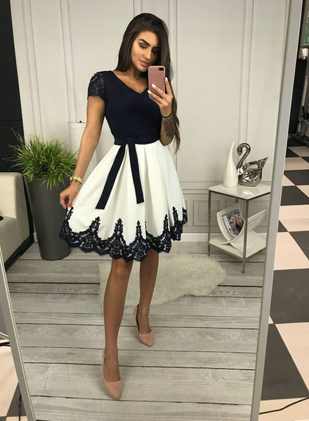 Cute v neck black lace and white short prom dress, homecoming dress,B0844