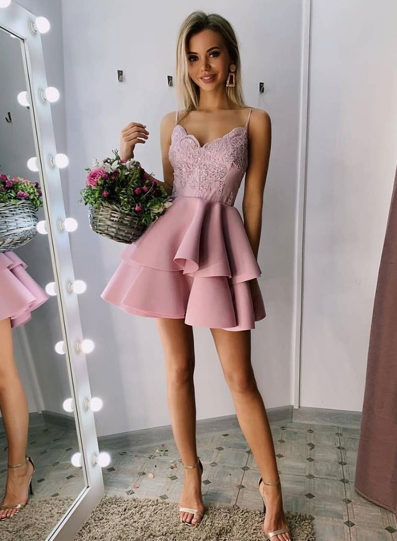 Pink v neck lace short prom dress, cute homecoming dress,B0846