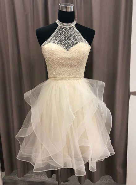 Champagne round neck tulle beads short prom dress, homecoming dress,B0849