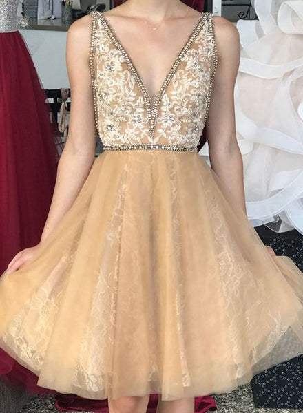 Cute v neck lace tulle short prom dress, homecoming dress,B0854