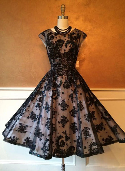Black tulle lace short prom dress, homecoming dress,B0855