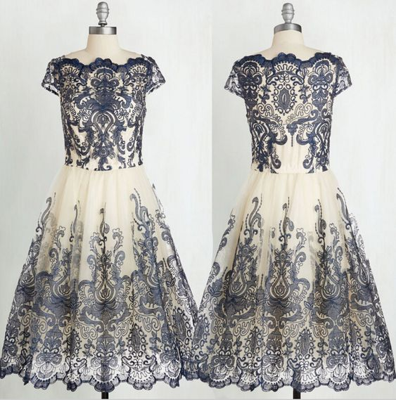 Vintage Lace Homecoming Dress,Knee Length Homecoming Dresses,B0861