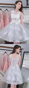 Knee-length Sleeveless Short Cute A-line Lace Appliques Tulle Homecoming Graduation Dress ,B0896