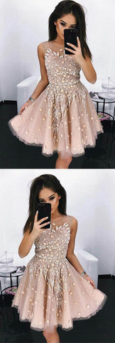 Modest A-Line Round Neck Short Blush Beads Unique Illusion Pleats Homecoming Dresses,B0897