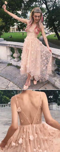 Elegant A Line Pink Backless High Low Spaghetti Straps Prom Homecoming Dress,B0898
