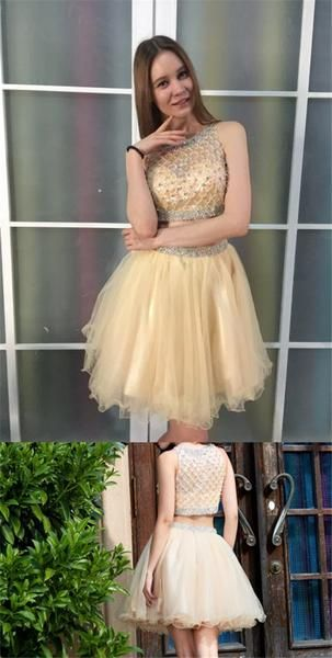 Two Piece Scoop Short Cheap Tulle Beaded Homecoming Dresses Online, B0902