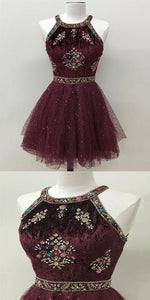 Halter Short Burgundy Homecoming Dress with Beading Cocktail Dress,B0905