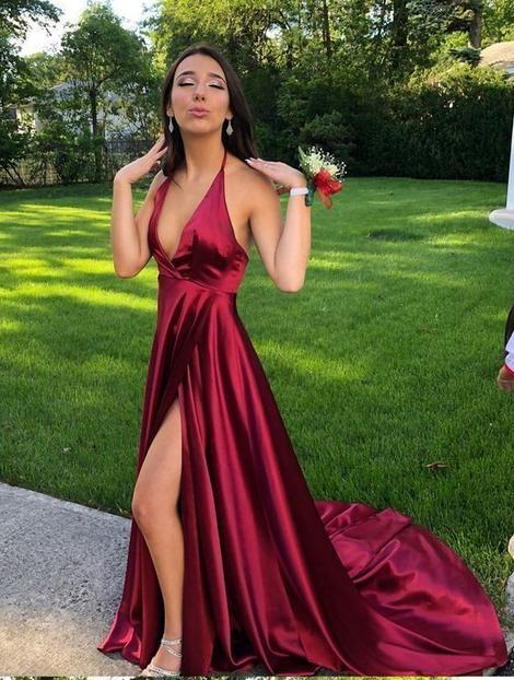 Sexy Prom Dress Slit Skirt, Evening Dress, Dance Dresses, Graduation School Party Gown,B0909