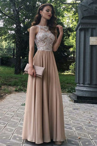 A-Line Beaded Lace Chiffon Long Prom Dresses Formal Evening Dresses,B0912