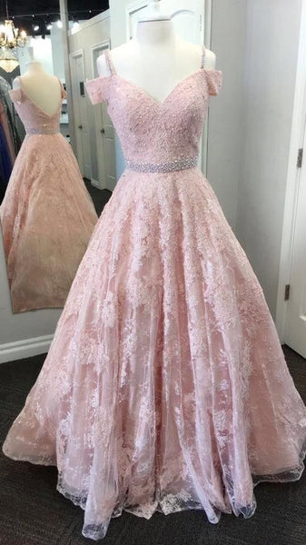Off Shoulder Sleeves Pink Lace Prom Dress,Sexy Deep V-back Formal Party Dress ,B0914
