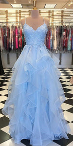 Tulle AppliqueLong Prom Dress with Spaghetti Straps Fahion Long Blue School Dance Dresses Custom Made Long Evening Party Gowns ,B0915