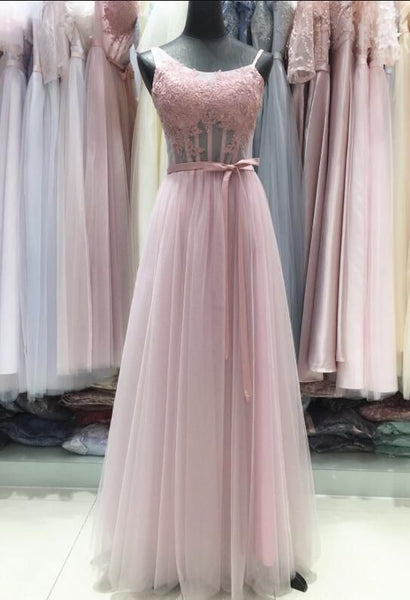 Pink Tulle with Lace Applique A-line Long Formal Gown, Pink Party Dress 2019, Formal Gown,B0917