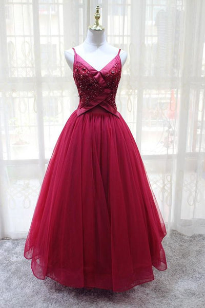 Wine Red Straps Tulle V-neckline Elegant Party Dress, Beautiful Prom Dress 2019,B0918