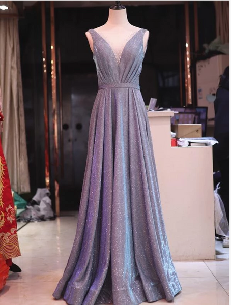 V-Neckline Charming Floor Length Party Gown, Long Wedding Party Dresses,B0922