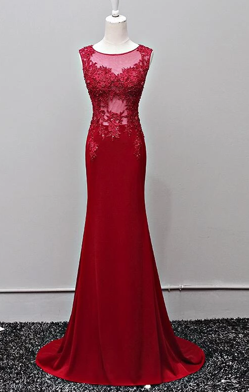 Dark Red Mermaid Long Prom Dresses, Spandex And Lace Applique Junior Prom Gowns,B0924