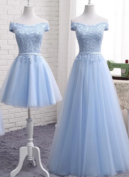Light Blue Tulle Bridesmaid Dress, Cap Sleeves Short Bridesmaid Dress, Wedding Party Dress,B0925