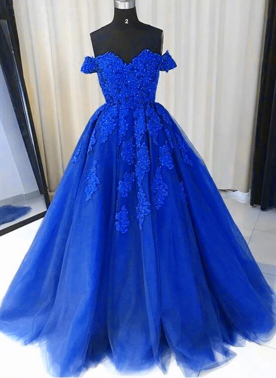 Royal Blue Tulle Gown, Lace Applique Off Shoulder Party Dress, Prom Dress 2019,B0926
