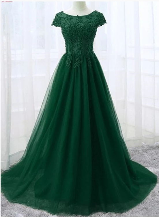 Beautiful Cap Sleeve Lace Applique Tulle Formal Gown, Prom Gowns 2019,B0927