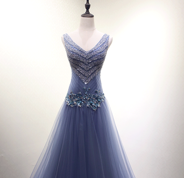 Beautiful Dark Blue Beaded V-Neckline New Style Prom Dress 2019, Long Formal Gowns, Prom Dresses,B0928