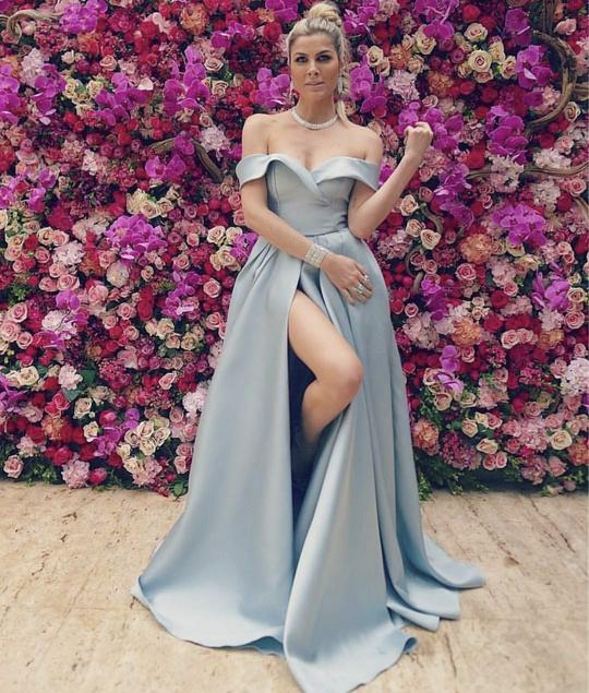 Sexy Blue Off Shoulder Sleeveless Prom Dresses Side Slit Prom Dresses,B0928