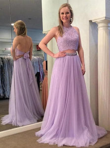 Two Piece Sleeveless Halter Prom Dresses Lace Beaded Evening Dresses,B0930