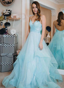 Blue Spaghetti Straps V Neck Backless Prom Dresses Long Evening Dresses,B0932