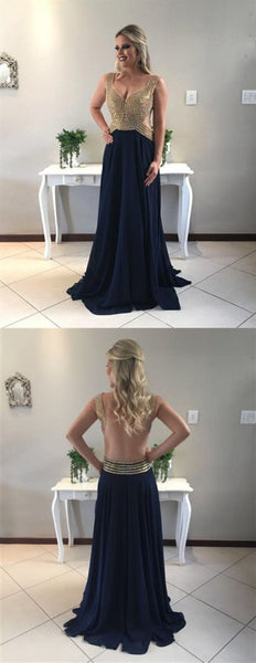 Navy Blue V Neck Sleeveless Beading Prom Dresses Backless Evening Dresses,B0935