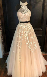 Champagne Two Piece Sleeveless Backless Beaded Long Tulle Prom Dresses,B0941