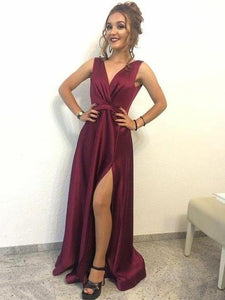 Burgundy V Neck Sleeveless Long Prom Dresses Side Slit Evening Dresses,B0954
