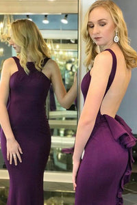 Sexy Purple Sleeveless Backless Mermaid Long Prom Dresses With Ruffles,B0958