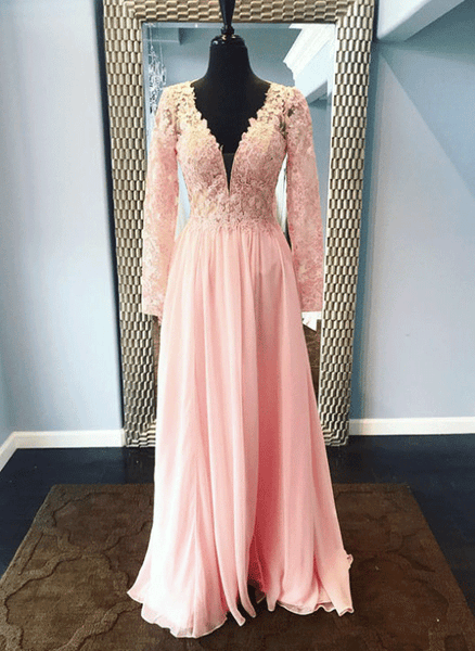 Pink V Neck Long Sleeve A Line Chiffon Prom Dresses With Lace,B0959
