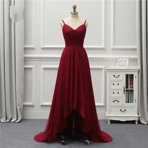 Burgundy V Neck Sleeveless A Line Tulle Prom Dresses High Low Evening Dresses,B0962